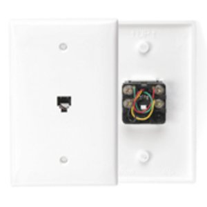 Leviton 40539-PMW Midsize Wallplate, Telephone Jack, 1-Gang, White