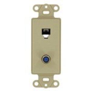 Leviton 40659-I Wallplate Insert, 2-Port, Telephone/Video, 6P4C, F-Connector, Ivory