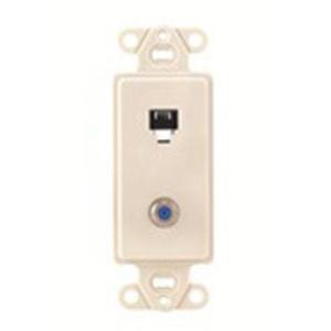 Leviton 40659-T Wallplate Insert, 2-Port, Telephone/Video, 6P4C, F-Connector, Almond