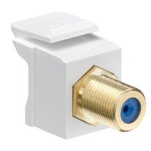 Leviton 40831-BW Snap-In Connector, Quickport, F-Connector, Gold/White
