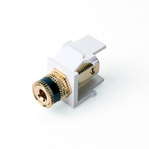 Leviton 40833-BWE White Binding Post Adapter, Gold-Plated, Black Stripe