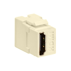 Leviton 40834-I HDMI Connector, Feedthrough, QuickPort, Ivory