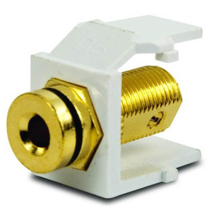 Leviton 40837-BWE Banana Jack Snap In Adapter, Gold Plated, White