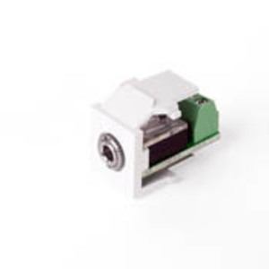 Leviton 40839-SWS Stereo Jack, QuickPort, 3.5mm, Snap-In, Female/Screw Terminal, White