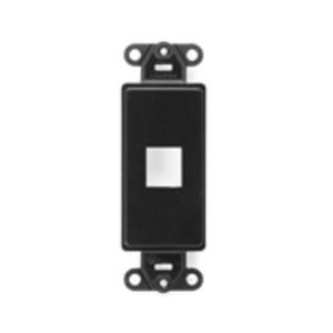 Leviton 41641-E Wallplate Insert, Decora, QuickPort, 1-Port, Empty, Black