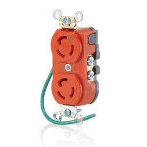 Leviton 4700-IG Locking Duplex IG Receptacle, 15A, 125V