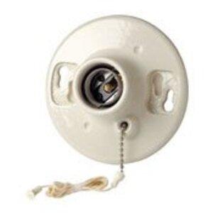 Leviton 49816-C Lampholder, Incandescent, Porcelain, Pull Chain, White