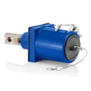 Leviton 49FR2-XB Rhino-Hide 49 Series Double Pole Female 45 Degree Receptacle (Color Coded Metal Housing, Contact, Captive Clevis Pin & Dust Cap), Double Hole Bus Bar, Industrial Grade, 313MCM-777MCM Cable, 1000 Volt, 1135 Amp Max - BLUE