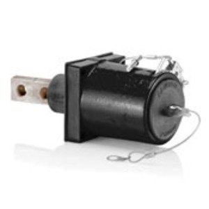 Leviton 49FR2-XE Rhino-Hide 49 Series Double Pole Female 45 Degree Receptacle (Color Coded Metal Housing, Contact, Captive Clevis Pin & Dust Cap), Double Hole Bus Bar, Industrial Grade, 313MCM-777MCM Cable, 1000 Volt, 1135 Amp Max - BLACK