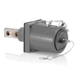 Leviton 49FR2-XGY Rhino-Hide 49 Series Double Pole Female 45 Degree Receptacle (Color Coded Metal Housing, Contact, Captive Clevis Pin & Dust Cap), Double Hole Bus Bar, Industrial Grade, 313MCM-777MCM Cable, 1000 Volt, 1135 Amp Max - GRAY