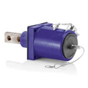 Leviton 49FR2-XP Rhino-Hide 49 Series Double Pole Female 45 Degree Receptacle (Color Coded Metal Housing, Contact, Captive Clevis Pin & Dust Cap), Double Hole Bus Bar, Industrial Grade, 313MCM-777MCM Cable, 1000 Volt, 1135 Amp Max - PURPLE