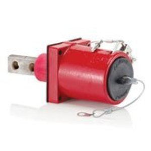 Leviton 49MR2-XR Rhino-Hide 49 Series Double Pole Male 45 Degree Receptacle (Color Coded Metal Housing, Contact, Captive Clevis Pin & Dust Cap), Single Hole Bus Bar, Industrial Grade, 313MCM-777MCM Cable, 1000 Volt, 1135 Amp Max - RED