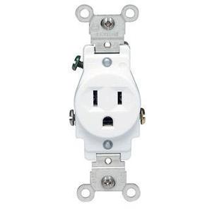 Leviton 5015-W 15 Amp Single Receptacle, 125V, 5-15R, White, Commercial Grade