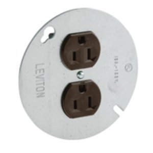 """Leviton 5042 15 Amp Duplex Receptacle on 4"""" Cover, 125V, 5-15R, Side Wired"""