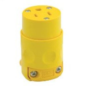 Leviton 515CV 15 Amp Connector, 125V, 5-15R, PVC, Yellow
