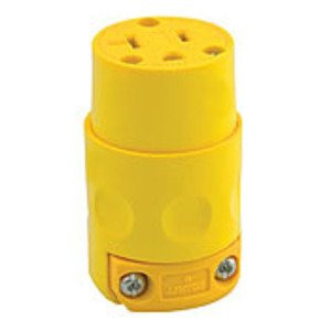 Leviton 520CV 20 Amp Armored Connector, 125V, 5-20R, PVC, Yellow