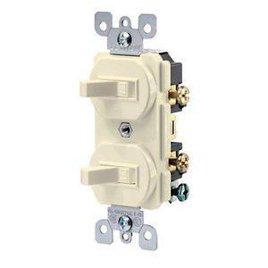 Leviton 5224-2T Combination Switch, Toggle, (2) 1-Pole, 15A, 120V, Light Almond