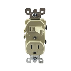 Leviton 5225-I Combination Toggle Switch / Duplex Receptacle, 15A, Ivory
