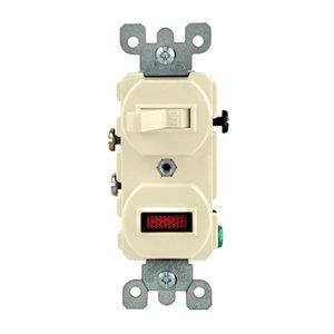 Leviton 5226-T Duplex 1-Pole/Neon Pilot AC Combination Switch, 15A, 120V, Light Almond
