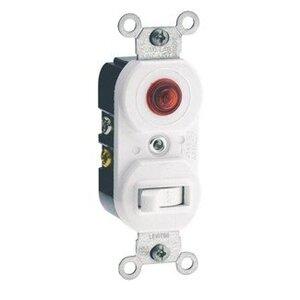 Leviton 5226-W Combination Switch / Neon Pilot Light, 15A, White