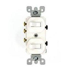 Leviton 5241-WS 15 Amp Duplex Combination Switch, White