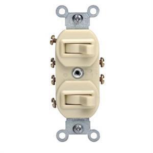Leviton 5243-I Combination Switch, Toggle, (2) 3-Way, 15A, 120V, Ivory