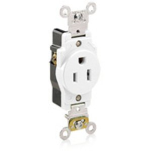 Leviton 5261-W Single Receptacle, 15A, 125V, White, Extra Heavy Duty, Back/Side Wired