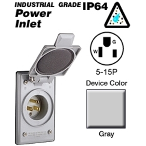 Leviton 5278-CWP 15A Integrated Power Flanged Inlet, 125V, 5-15P, Standard Wells