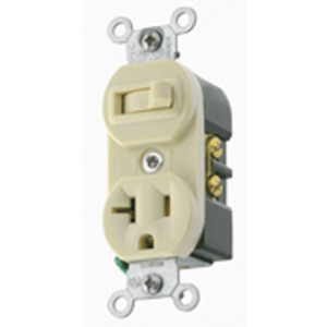 Leviton 5335-W 20 Amp Duplex Combination Switch, White
