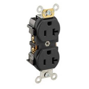 Leviton 5352-E Narrow Duplex Receptacle, 20A, 125V, 5-20R, Black