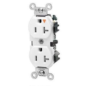 Leviton 5362-IGW Duplex Receptacle, 20A, 125V, Slim, 5-20R, White