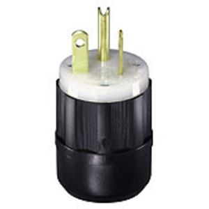 Leviton 5366-C 20 Amp Plug, 125V, 5-20P, Nylon, Black/White, Industrial Grade