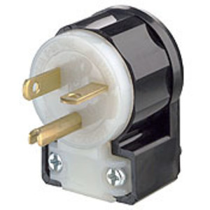 Leviton 5366-CA 20A Angled Plug, 125V, 5-20P, Nylon, Black/White, Industrial Grade
