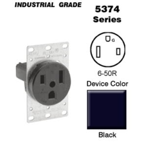 Leviton 5374-S00 50 Amp Flush Mount Receptacle, 250V, 6-50R, 2P3W, Ground