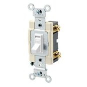 Leviton 54501-2GY 1-Pole Switch, Framed Toggle, 15A, 120/277V, Gray, Side Wired