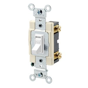 Leviton 54521-2W 1-Pole Switch, Framed Toggle, 20A, 120/277V, White, Side Wired