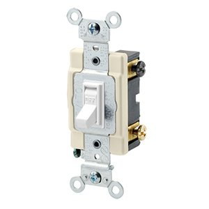 Leviton 54522-2W 2-Pole Switch, Framed Toggle, 20A, 120/277V, White, Side Wired