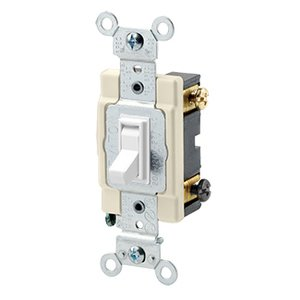 Leviton 54523-2W 3-Way Switch, Framed Toggle, 20A, 120/277V, White, Side Wired