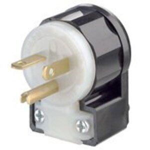 Leviton 5466-CA 20A Angled Plug, 250V, 6-20P, Nylon, Black/White, Industrial