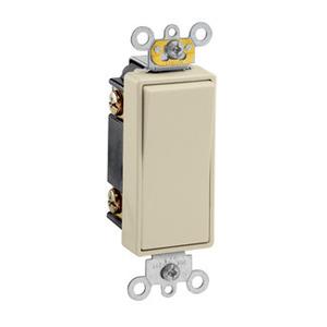 Leviton 5623-2I 3-Way Decora Switch, 20A, 120/177V, 1-Pole, Ivory, Back/Side Wired