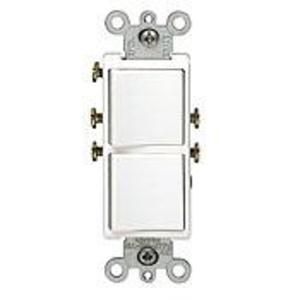 Leviton 5627-W Combination Decora Rocker Switch, (2) Switches, 20A, White