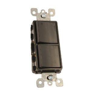 Leviton 5634-E 15A, 120V Comb. Decora Rocker (2) Switch, Black