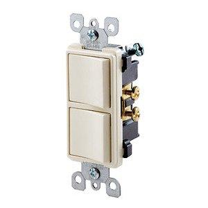 Leviton 5634-T 15A, 120V Decora Comb. Rocker (2) Switch, Light Almond