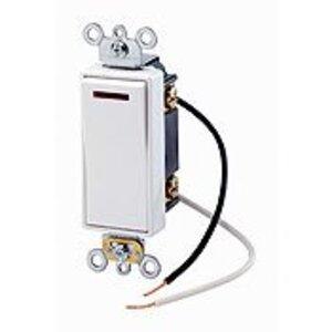 Leviton 5638-2W 3-Way Decora Pilot Light Switch, 20A, 120V, White, Lit When ON