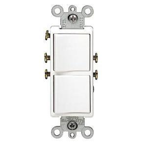 Leviton 5640-W Combination Decora Rocker Switch, (2) 3-Way Switches, 20A, White