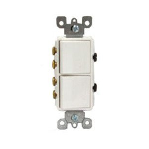 Leviton 5643-W 15A, 120V Comb. Decora Rocker (2) Switch, 3-Way, White