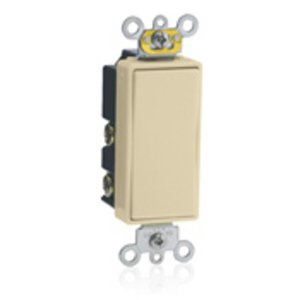 Leviton 5657-2I Decora Switch, 15A, 120/277V, Momentary, 1-Pole, Double Throw, Ivory