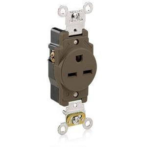 Leviton 5661 Single Receptacle, 15A, 250V, Brown, Heavy Duty, Back/Side Wired
