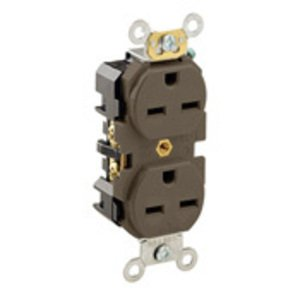 Leviton 5662 Narrow Duplex Receptacle, 15A, 250V, 6-15R, Brown