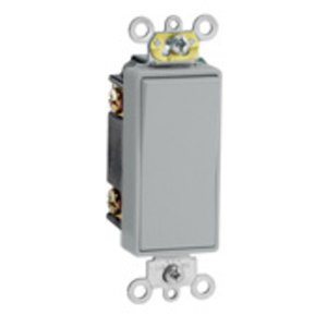 Leviton 5693-2GY 3-Way Decora Switch, 15A, 120/177V, 1-Pole, Gray, Back/Side Wired